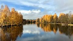 Calm Waters - October (halleluja2014) Tags: october vackertväder reflection mirror sweden falun höstfärger höst autumn waterscape östanfors
