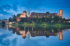 Wawel Castle & Reflection (Luís Henrique Boucault) Tags: breathtaking urban hill illuminated winter tourist historic summer chapel royal travel castle white europe malopolska view spring medieval christian wawel kracow tourism skyline landmark famous krakow night building vistula place basilica beautiful cathedral palace tower landscape monument sunset town poland gothic towers architecture cracow popular river panorama polish park architectural