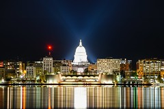 Streaky (Kirby Wright) Tags: madison wisconsin downtown isthmus monona terrace lake building architecture telephoto long exposure light trails night time sky clear calm water nikon d750 tamron 150600mm f563 manfrotto tripod still