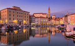 Piran Blues (AdelheidS Photography) Tags: adelheidsphotography adelheidsmitt adelheidspictures sunset slovenia bluehour evening reflection dusk piran harbour boats venetian tower adriatic mediterranean coastal pastels balkan cityscape citylights cityview canoneos6dmii