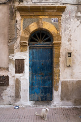 Doorways Essaouira - Blue and guarded (toniertl) Tags: morocco exotic holiday hot toniphotoxoncouk travel doorways worn wellused faded quiet bluedoor