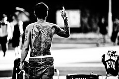 Boss Jess..... (Victor Borst) Tags: street streetphotography streetlife reallife real realpeople asian asia asians faces face candid canon canon5dmarkii travel travelling trip traveling urban urbanroots blackandwhite bw mono monotone monochrome urbanjungle city cityscape citylife tattoo tatoo tokyo japan japanese town