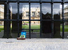 Trinity College, Cambridge (Bryan Appleyard) Tags: wellington boot trinity childs bars grille reflections college cambridge lawn stone blurred