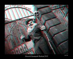 036 Haworth Steampunk 19 bw (3dbeadyeyes2) Tags: haworth steampunk weekend 2019 howarthsteampunkweekend2019 3d anaglyph