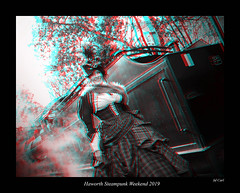 009 Haworth Steampunk 19 bw (3dbeadyeyes2) Tags: haworth steampunk weekend 2019 howarthsteampunkweekend2019 3d anaglyph
