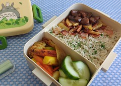 Bento 701 (Sandwood.) Tags: bento lunch lunchbox cooking food meal dish rice liver vegetables rootvegetables cucumber bacon apple fried