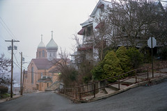 (patrickjoust) Tags: fujica gw690 kodak portra 160 6x9 medium format 120 rangefinder 90mm f35 fujinon lens cable release tripod manual focus analog mechanical patrick joust patrickjoust usa us united states north america estados unidos small town industrial orthodox church cross onion dome house home sidewalk steps bush fog early morning monessen pa pennsylvania mon river valley