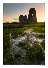 St Benets Abbey, Ludham, Norfolk (Steven Docwra) Tags: sunset norfolkbroads thebroads nationalpark eastanglia architecture abbey ruin colour water puddle pond grass