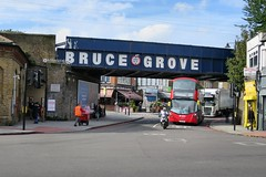 Bruce Grove Railway Bridge and station entrance.