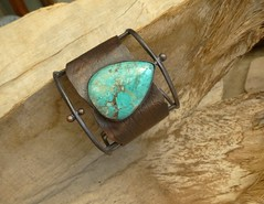 Wide Turquoise cuff with a great cactus sceleton pattern from a piece i´ve found at one of our kajak tours (annacmei) Tags: turqouise texturedcopper copperjewelry cuff annamei gift ooak