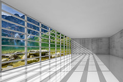 3d empty white interior with windows (decocentrum) Tags: 3d concrete room sky window day illumination empty construction render windows hall blank walls inside nobody house wide backdrop architectural office open glass business beams abstract interior white clouds background blue light modern new digital indoor architecture illustration perspective space design floor apartment studio frame wideangle showroom openspace wall sunlight