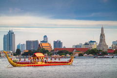 Traitional royal thai boat in river in Bangkok city with Wat arun temple background (anekphoto) Tags: sunset landmark temple wat wood culture grand royal place art king thai asia asian thailand travel gold river ancient chedi stupa palace religious golden traditional suphannahongse icon pagoda arun buddhist religion boat buddhism architecture holiday tourism city ceremony background water oriental bangkok ship wooden attraction outdoor chaophraya famous barges