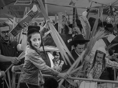 Greediness (ybiberman) Tags: israel jerusalem meahshearim sukkot feast market thefourspecies lulav datepalm portrait candid streetphotography people documentary bw falling grabbing payot kippah yarmulke