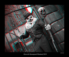 035b Haworth Steampunk 19 bw (3dbeadyeyes2) Tags: haworth steampunk weekend 2019 howarthsteampunkweekend2019 3d anaglyph