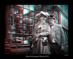 028 Haworth Steampunk 19 bw (3dbeadyeyes2) Tags: haworth steampunk weekend 2019 howarthsteampunkweekend2019 3d anaglyph