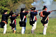 TARGETING THE BRITISH (MIKECNY) Tags: fire shoot troops uniform colonists americanrevolution schoharie schoharievalley musket rifle smoke