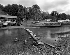 Isleworth boat yard (MKHardyPhotography) Tags: blackandwhite monochrome mkhardy street largeformat 4x5 ilford delta 100 film photo home developed filmisnotdead schneider 58mm bw selfdeveloped superangulon xl iso100 negative london isleworth boats river thames