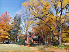 Heritage Farm in Autumn (scilit) Tags: farm building house architecture autumn trees colorful grass sky history heritage porch fields attraction brontecreek park hiking trail landscape scenery nature painterly charming sunny