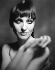 Sara (Braca Nadezdic) Tags: analog blackandwhite bw portrait model graflex speedgraphic kodaktrix320 aeroektar largeformat 4x5