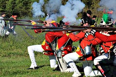 FACING THE ENEMY (MIKECNY) Tags: british uniform rifle musket fire smoke schoharievalley americanrevolution schoharie reenactor reenactment