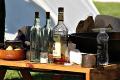 MAKING BATTLE FUN (MIKECNY) Tags: table bottle rum alcohol water empty drink captainmorgan americanrevolution schoharie schoharievalley reenactment