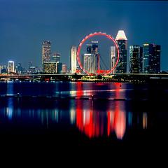 Singapore Flyer on film (Thanathip Moolvong) Tags: bronica s2 fujichrome provia 100f reversal film singapore flyer night happyplanet asiafavorites