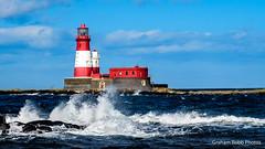 Longstone lighthouse (Farne Islands) (grahamrobb888) Tags: grahamrobbphotos nikon nikkor nikond500 nikkor1755mmf18dx dx dxlens 1755f18dx light lighthouse spray waterspray sea seaside seascape bluesky blue water northsea northumberland wetrocks icyrocks rocks rock
