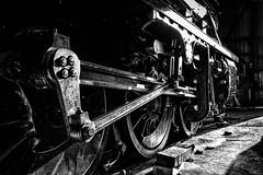 Heavy Metal in the Shed (photofitzp) Tags: bw blackandwhite gcr grain locomotives loughborough railways engineering harsh heavymetal rods