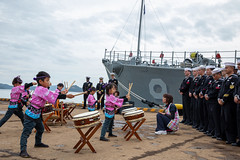 Kindergarteners from Uki, Japan give a musical performance to the crew of USS Pioneer (MCM 9).