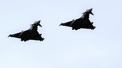 PAIR OF TYPHOONS FLYPAST CONINGSBY (toowoomba surfer) Tags: jet aeroplane aircraft aviation raf