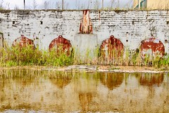 van der Steurgebouw (LiesbethM) Tags: ruin reflections water architecture herfst2019 extremeweather rusty constructions rotterdam