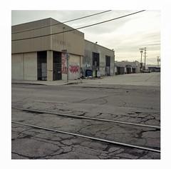 Twos (ADMurr) Tags: la eastside industrial overcast tracks wires twos hasselblad 500cm kodak portra 50mm zeiss distagon dba295