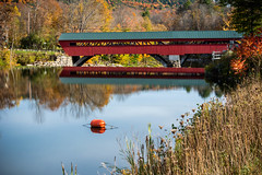 Vermont Covered Bridge (Eyes Open To Life) Tags: bridge coveredbridge wooden river reflection water autumn fall foliage countryside lanscape outdoors woodenstructure nature