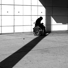 On the chair (pascalcolin1) Tags: paris13 homme man chaise chair ombre shade photoderue streetview urbanarte noiretblanc blackandwhite photopascalcolin 50mm canon50mm canon soleil sun mur wall lines lignes