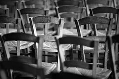 St.M (Guillaume DELEBARRE) Tags: canon sigmaart 105mm blackandwhite bw noiretblanc nb chaises chairs church france simple simplethings serie repetition répétition
