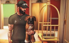 [ 📷 - 109 ] (insociable.sl) Tags: hotel motel boy man male rich model luxurious luxury ink tattoo beard sunglasses snapback cap companion boxer puppy dog animal pet edit sl secondlife