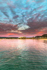 High Cloud Sunrise over the Bay (Merrillie) Tags: daybreak waterfront nature water coastal sky morning boats foreshore newsouthwales clouds earlymorning nsw brisbanewater ettalongbeach highcloud landscape esplanade sunrise ettalong dawn outdoors waterscape brokenbay centralcoast bay australia