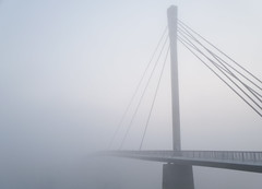 The bridge hidden in the fog (Aleksandar Dragićević) Tags: autumn morning fog bridge river serbia sremskamitrovica vojvodina october balkan europe sirmium architecture samsung kzoom