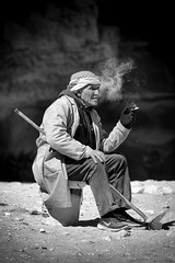 1061 Resting-Smoking (Hrvoje Simich - gaZZda) Tags: outdoors people old man resting smoke cigarette monochrome blackwhite petra jordan asia travel nikon nikond750 nikkor283003556 gazzda hrvojesimich