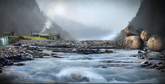 Living Along The River (jarr1520) Tags: landscape art sky clouds mist fog hills valey rocks river riverbed ater stream house barn buildings waterfall grass smoke textured