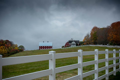 Farm On The Hill (Eyes Open To Life) Tags: autumn fall foliage fence farm barn house buildings countryside rural nature landsape outdoors maine seasons trees whitefence