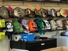 halloween masks. disc replay. october 2019 (timp37) Tags: halloween masks 2019 october illinois orland park mask disc replay wrestling belt belts roh