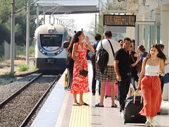 Havalimanı (Airport) station, Izmir, with a Basmane train approaching (Steve Hobson) Tags: havalimanı airport station izmir izban passengers tcdd