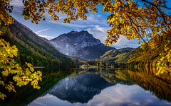 Autumn day (gregor158) Tags: autumn fall austria österreich trees tree mountain mountains clouds reflection lake langbathsee europe alps hunting lodge royal mirror leaves explore explored