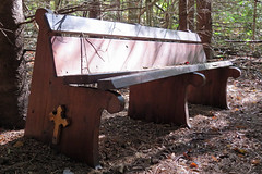 A pew in the forest behind the Chapel of Angels on the grounds of Iona Academy Catholic   School in St. Raphael's, South Glengarry, Ontario (Ullysses) Tags: pew bancdéglise bench banc forest foret ionaacademycatholicschool williamstown ontario canada straphaels southglengarry stormontdundasandglengarry faith religion christianity autumn fall automne romancatholic catholiqueroman chapelofangels churchbench