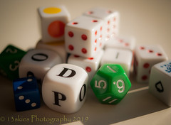 Random Luck (SoS) (13skies) Tags: d o p smile smileonsaturday dice colours colors a100 green play playing plastic dots macroscopic macro close onlydice die toss luck lucky gamble chance diceonly