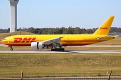 DHL 777-200F landing at Cincinnati (chrisjake1) Tags: cvg kcvg cincinnati covington dhl southern southernair 777 777200 777f 777200f 777fzb boeing cargo freight freighter