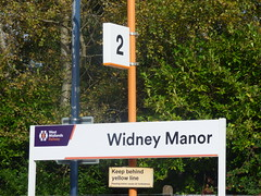 Widney Manor Station - sign (ell brown) Tags: solihull westmidlands england unitedkingdom greatbritain widneymanor tree trees widneymanorstation widneylane chilternrailways westmidlandstrains westmidlandsrailway chilternmainline sign