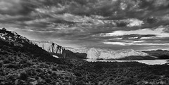 Mountain in Monotone (Alfredo Rafael) Tags: southwest sunset blackwhite arizona mountains viistas panoramic monotone landscape rugged desertscape cactus lake sky clouds