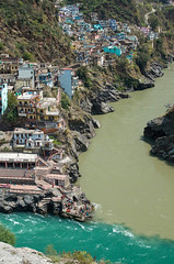 When Two Become One ([Kevin] [McCarthy]) Tags: water river confluence sediment coverge twins ganges headwater head bhagirathi alaknanda rivers devprayag india uttarakhand village town vibrant emerald buildings mountain side neature